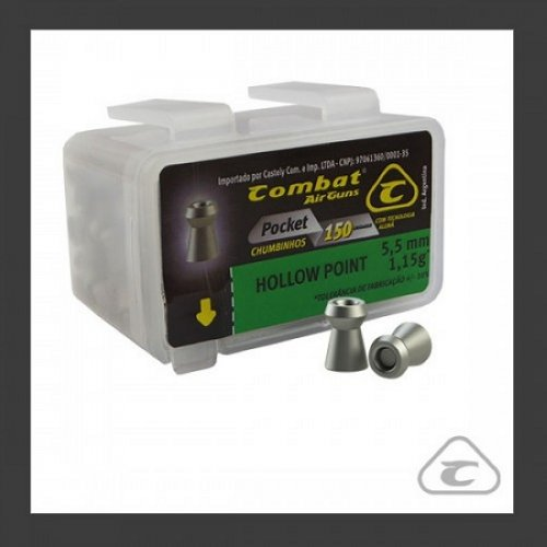 Chumbinho Combat Hollow Point 1,15gr 5,5mm c/ 150und