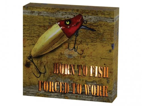Quadro Iluminado Decorativo Born To Fish